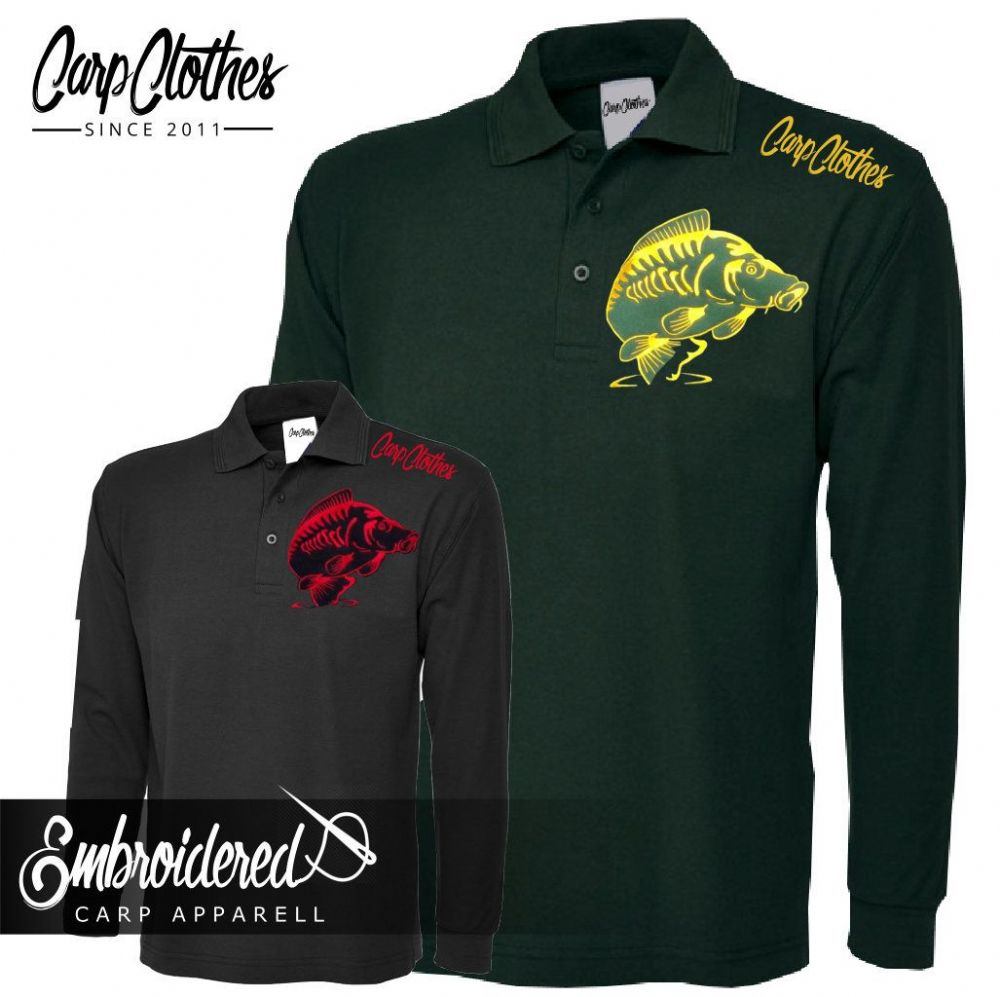 014 EMBROIDERED CARP LS POLO